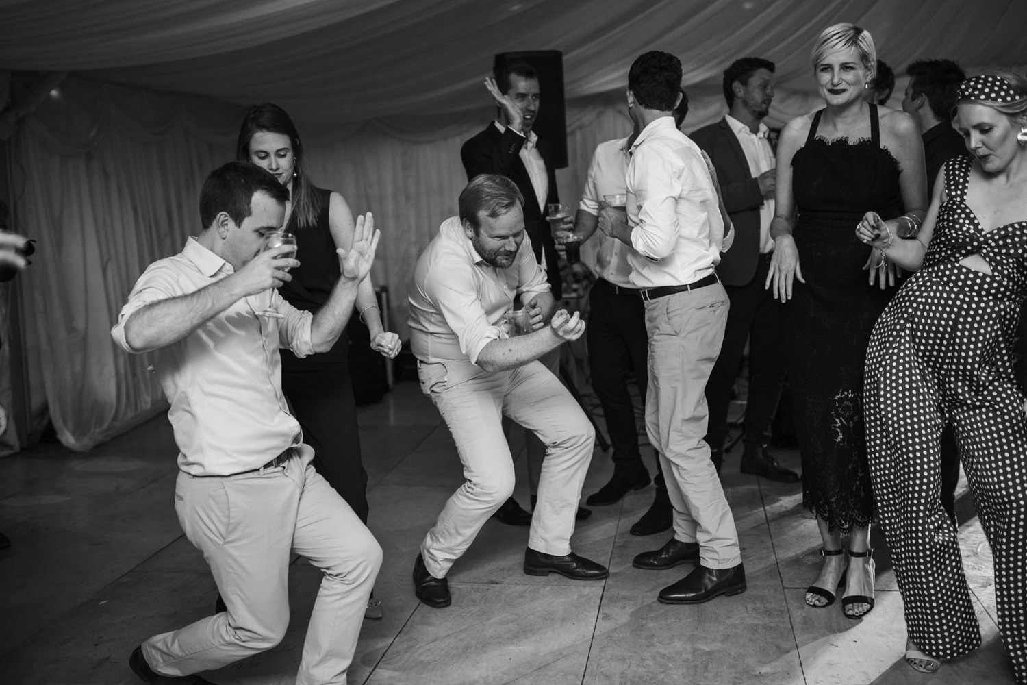 guests dancing during the wedding reception at Harvest Moon Scotland Weddings