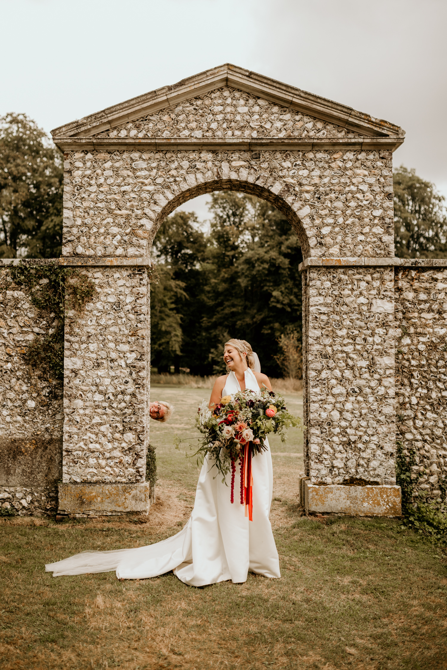 funny bridal portraits by Cheshire wedding photographers