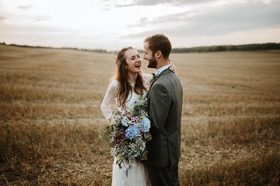Something blue bohemian wedding bouquet for a Summer wedding in England