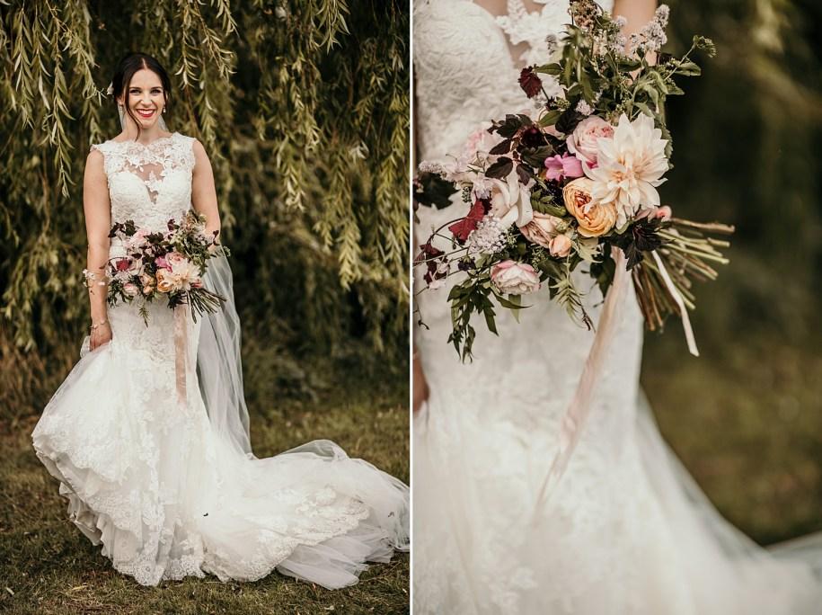 elegant bride holding a bohemian wedding bouquet
