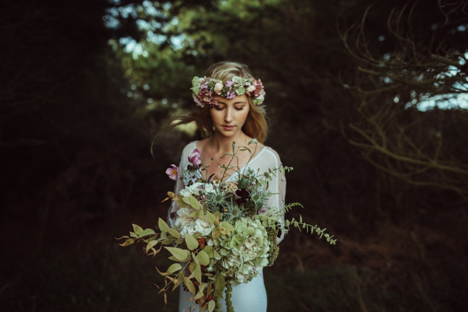 wild and non-conventional bohemian wedding bouquet for a Summer wedding