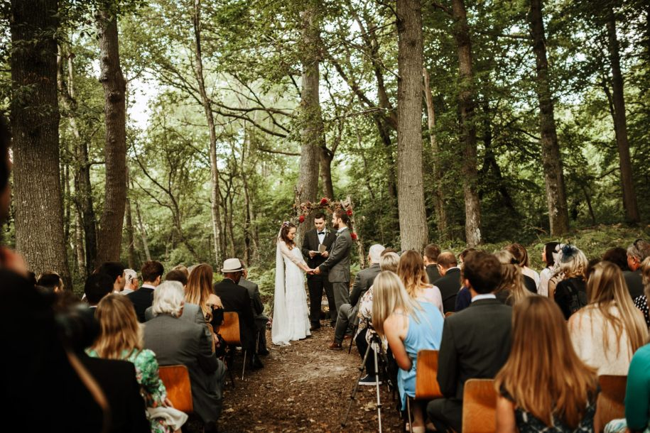 outdoor wedding ceremony in a forest