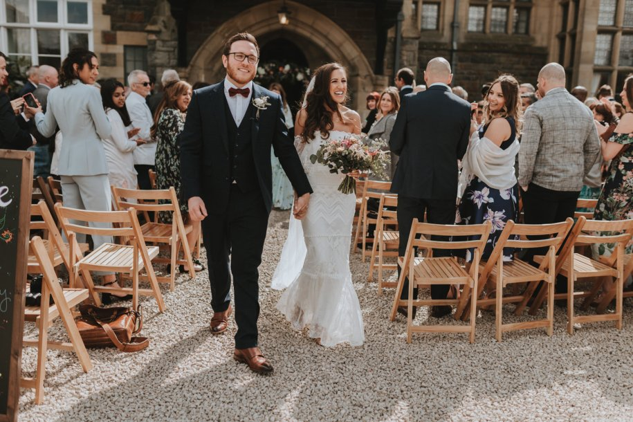 bride and groom after their outdoor wedding ceremony in Wales
