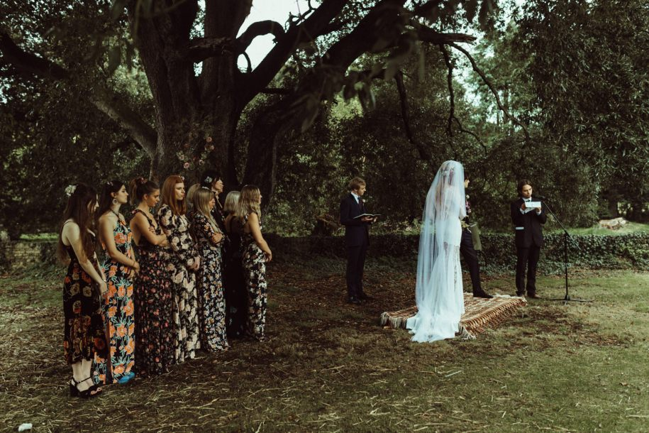 new forest outdoor wedding ceremony
