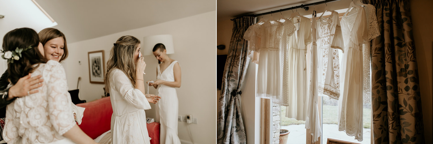 bridesmaids dressed in white in the morning for the wedding prep before the Stroud wedding Cotswolds