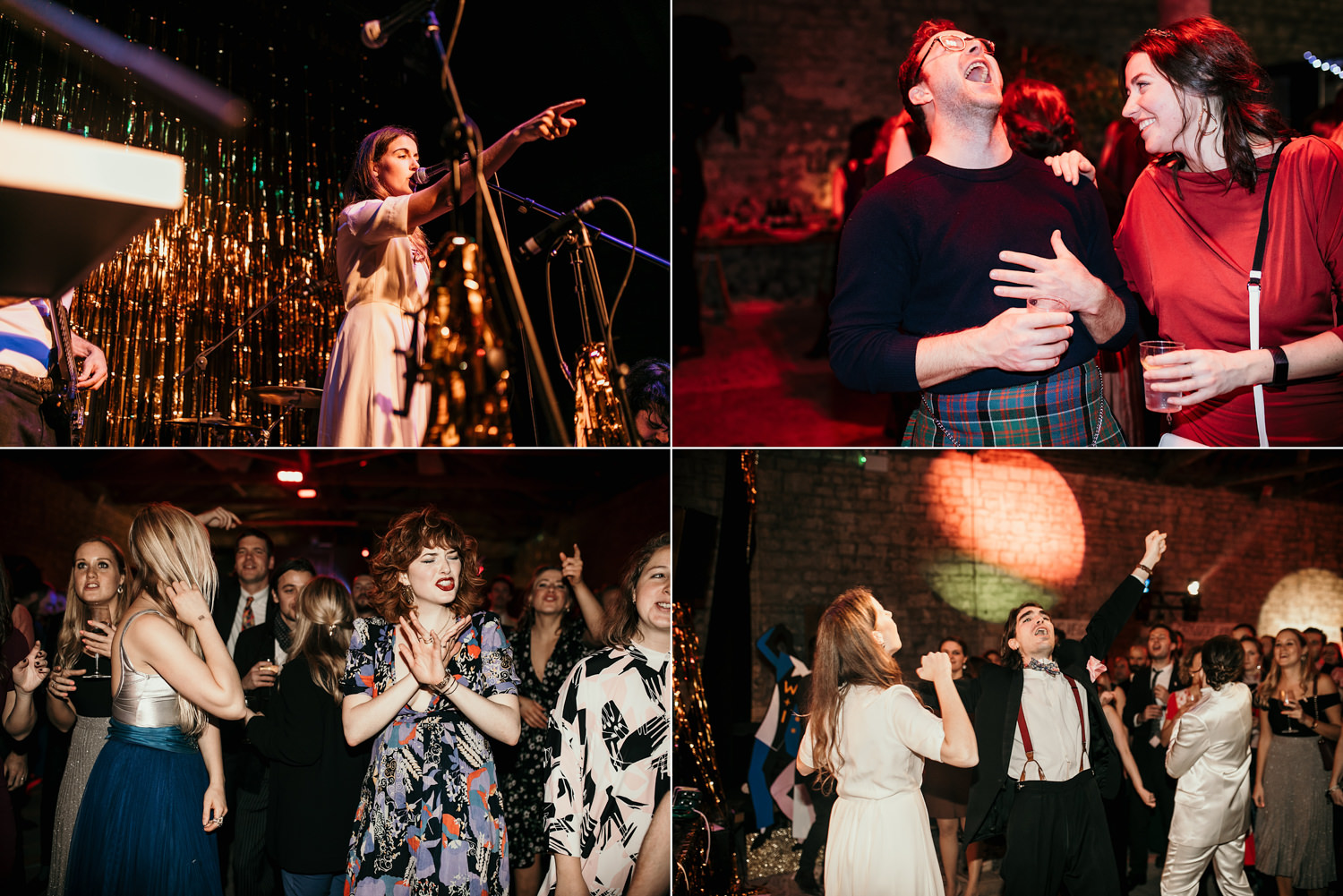 singers and guests during a concert theme wedding at Stroud Wedding in Cotswolds