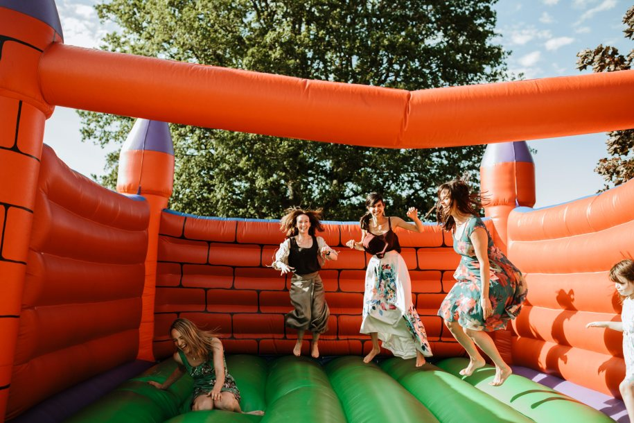 bouncy castle for children and adults for a wedding or events reception idea