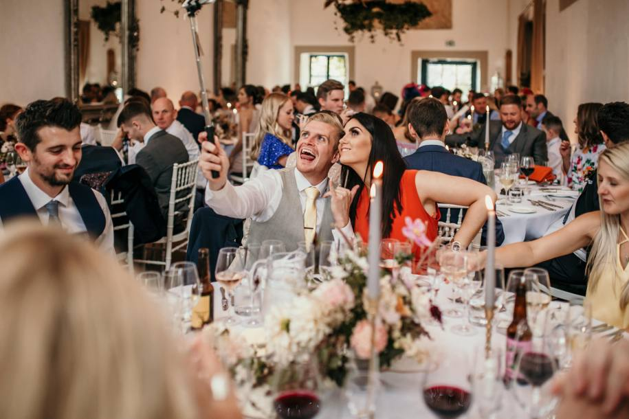 selfie stick on dinner tables for wedding reception ideas