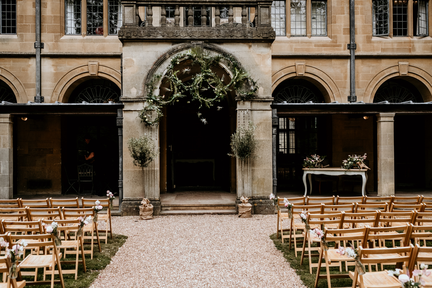 outdoor wedding ceremony setup with foliage for a Coombe Lodge Blagdon wedding