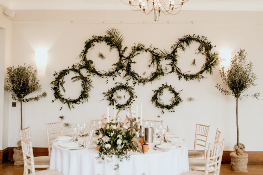 foliage rings as decoration for the main table at Coombe Lodge in Somerset