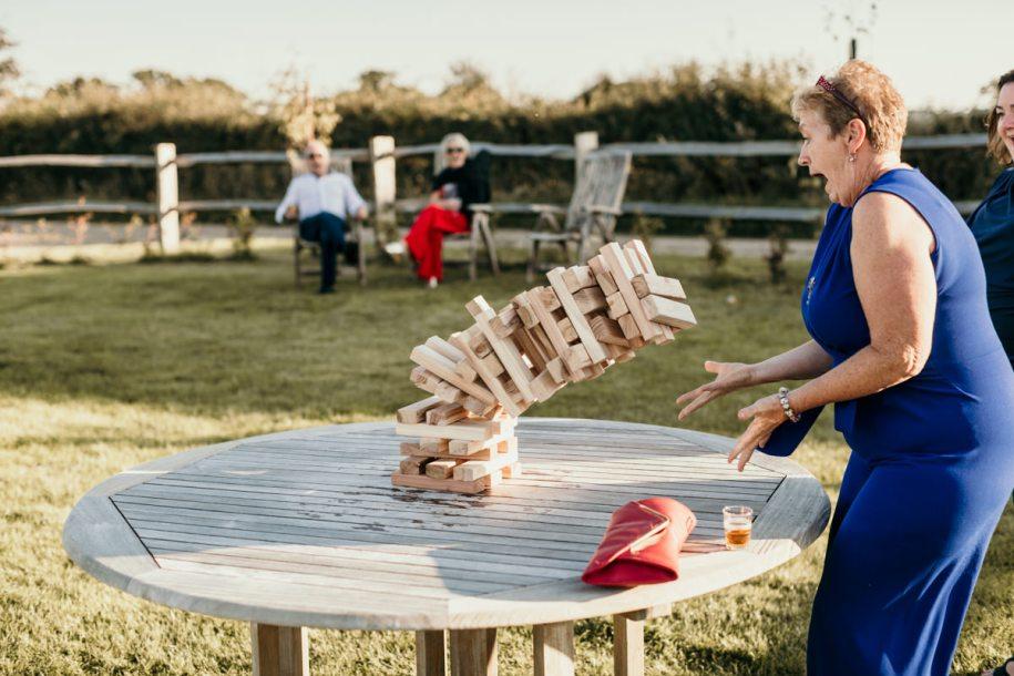 giant garden jenga wedding cocktail hour games