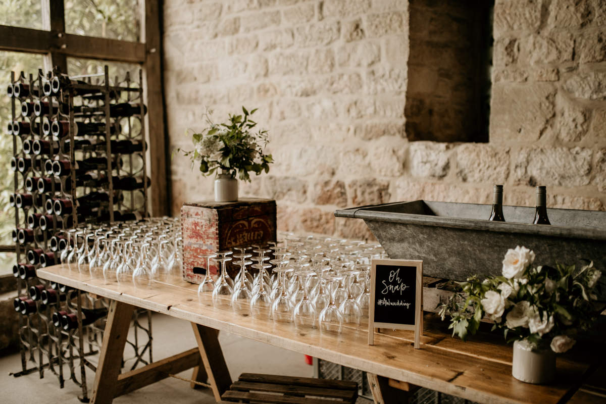 wedding decor for the bar area at Priors Court Barn wedding gloucestershire