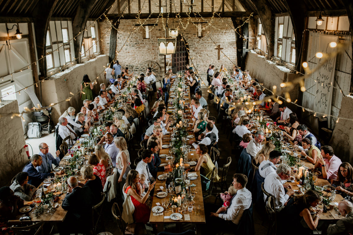 table settings and arrangements during the reception at Priors Court Barn Gloucestershire