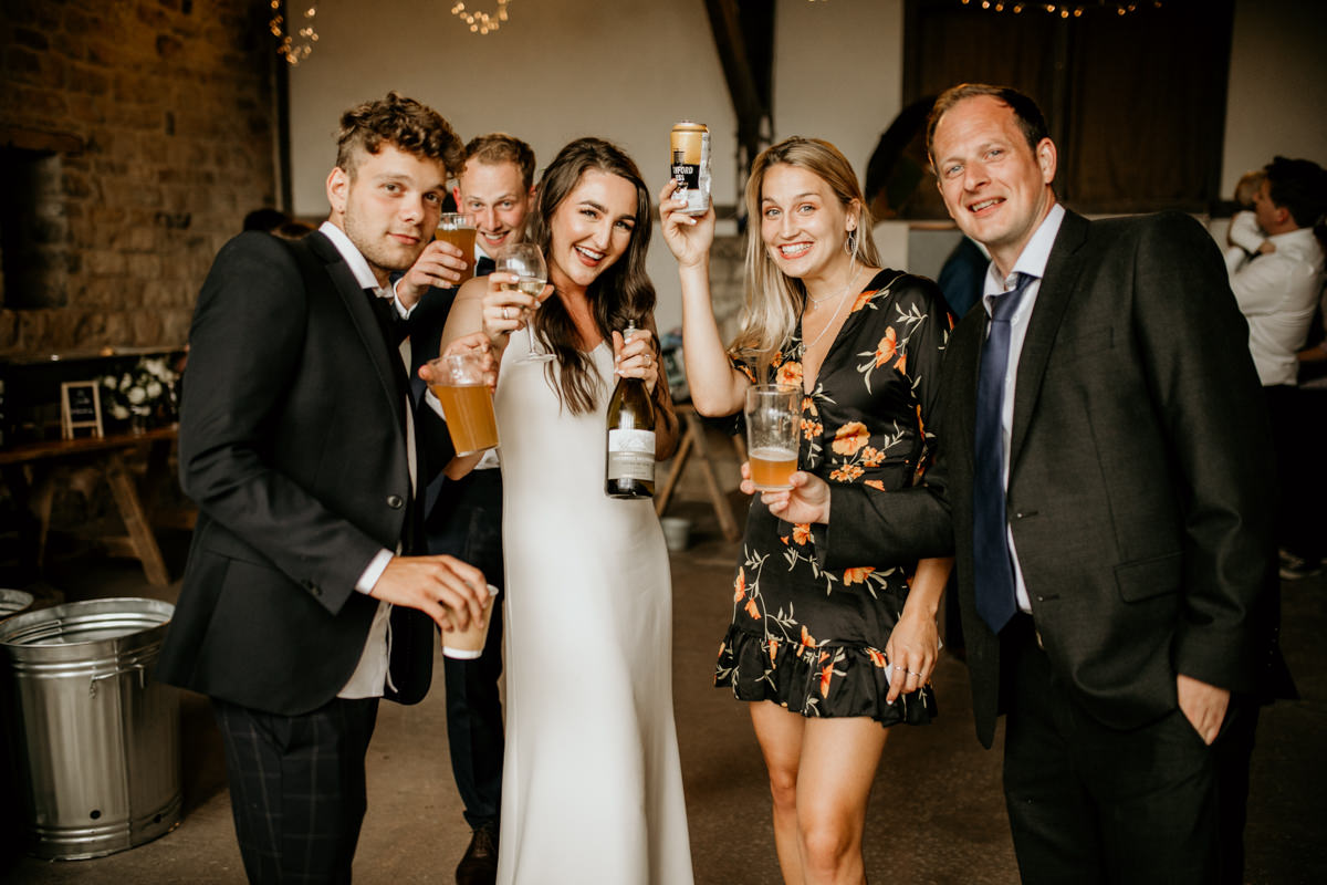 guests during the wedding reception at Priors Court Barn