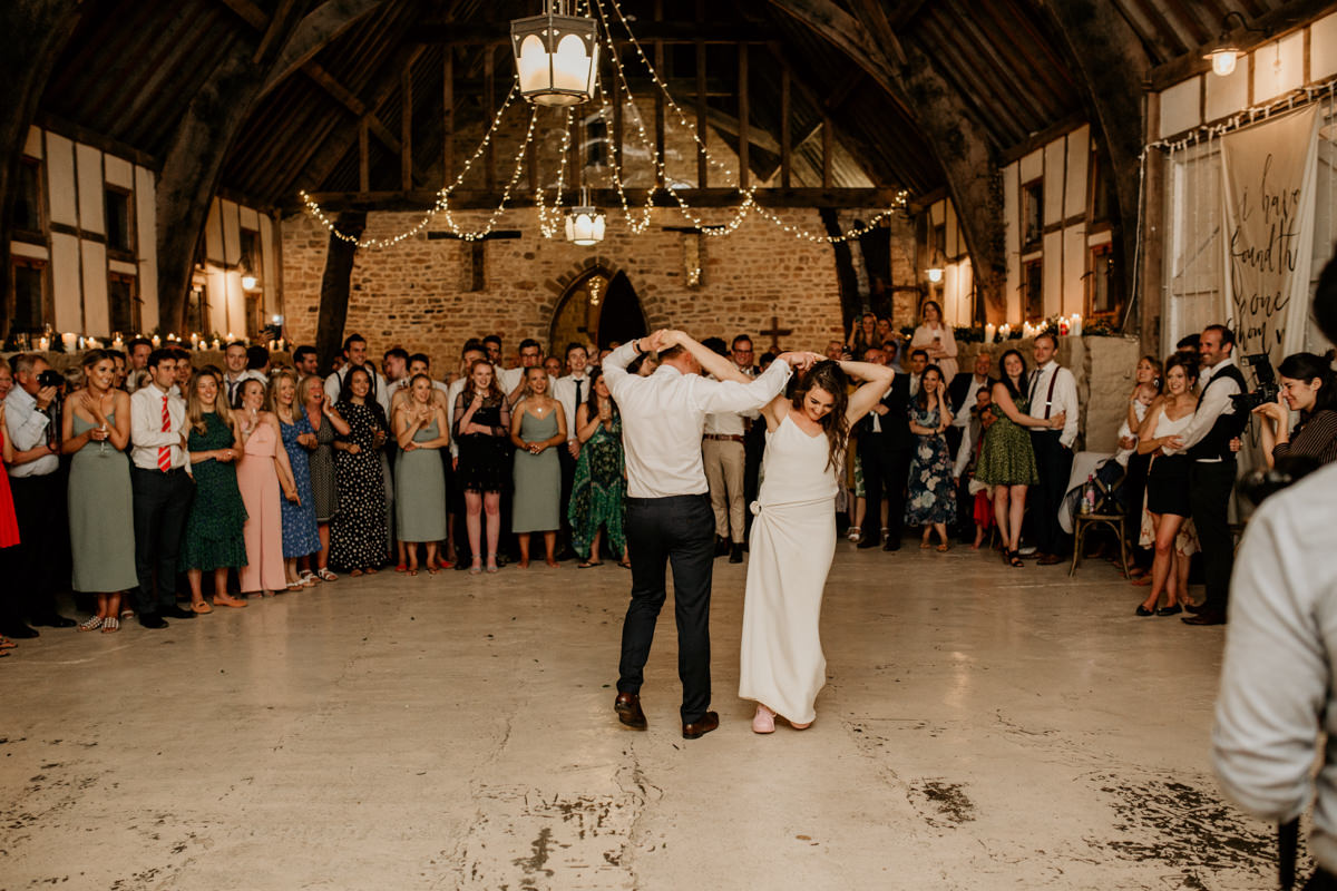 first dance during a Priors Court Barn wedding reception