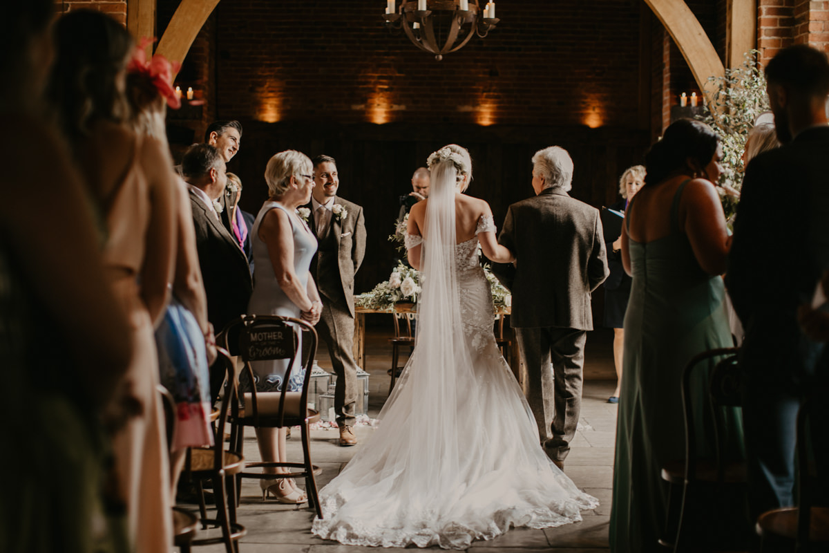 wedding ceremony at Shustoke Barn wedding venue