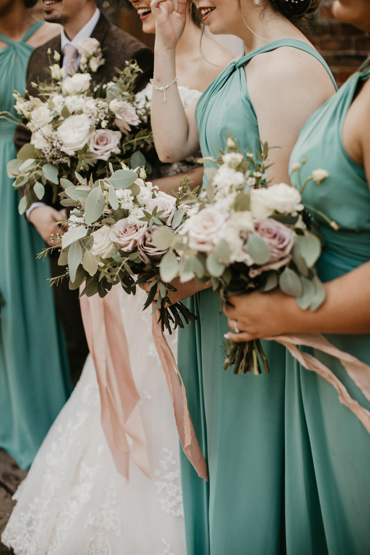 blush and green wedding flowers for a Shustoke Barn wedding