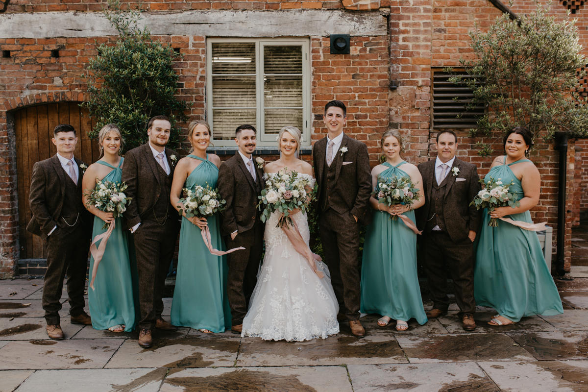 group photo for a Shustoke Barn wedding