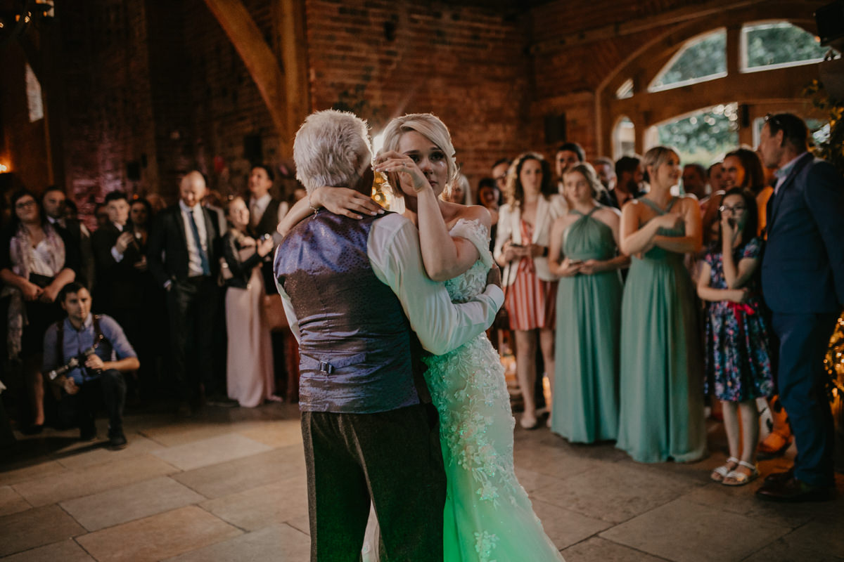 father and bride during the first dance at Shustoke Barn wedding venue
