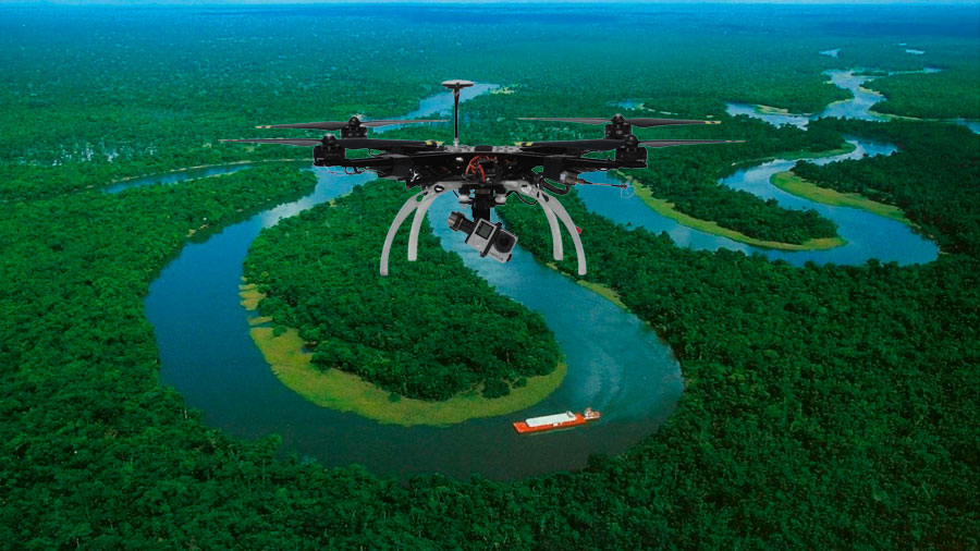 Using a drone to search for lost areas in the Amazon