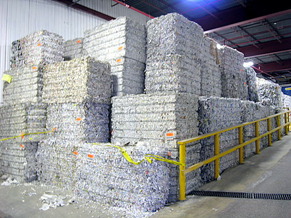 Blocks of shredded paper, mostly from schools and offices