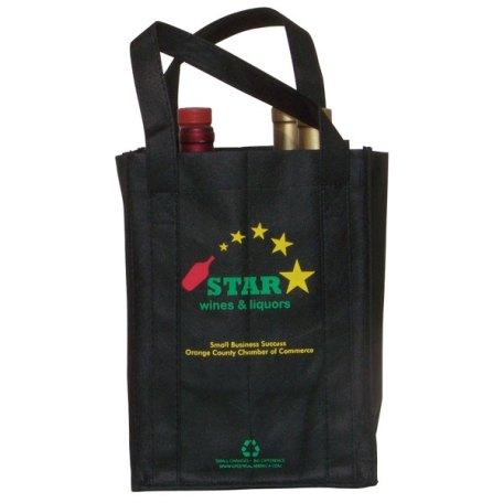 Eco-friendly Black 4 Bottle Wine Bag