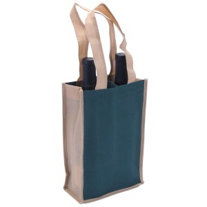Eco-friendly 3 bottle tan and dark green wine bag