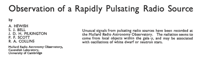 Nature announcement of discovery of pulsar