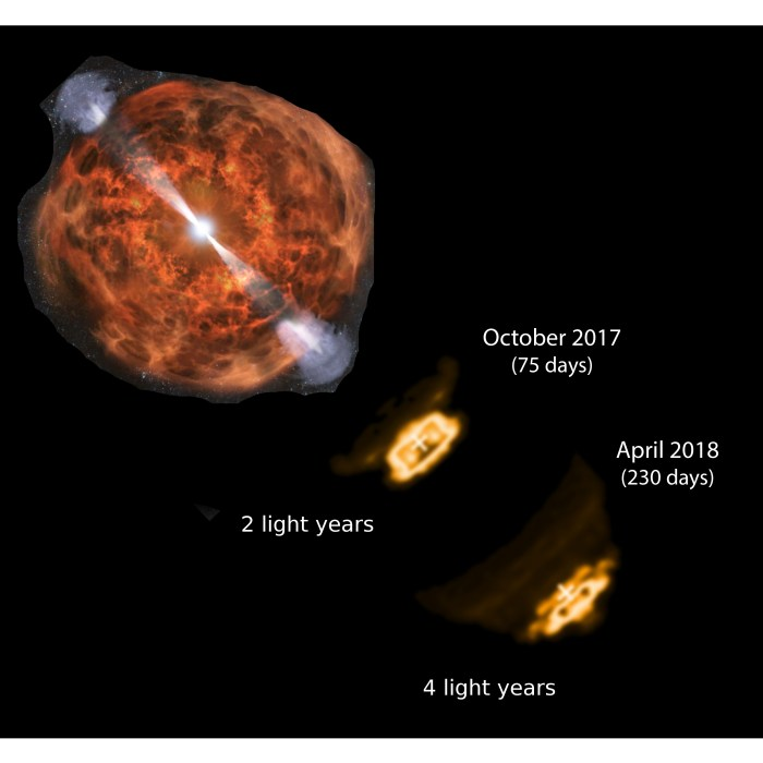 As the jet from the neutron-star merger event emerged into space, simulated radio images in this artist's conception illustrate its extremely fast motion.