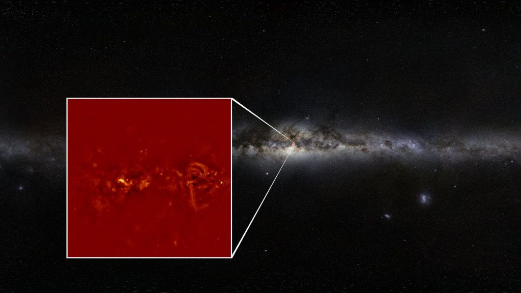 image of the Milky Way, with a blow-up of the Galactic center