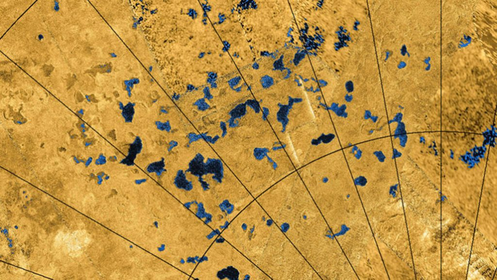 Titan has hundreds of lakes in its polar regions (shown in this radar image from NASA's Cassini spacecraft). Decades-old data once suggested lakes should be found at the equator instead.  USGS, ASI, JPL-Caltech/NASA