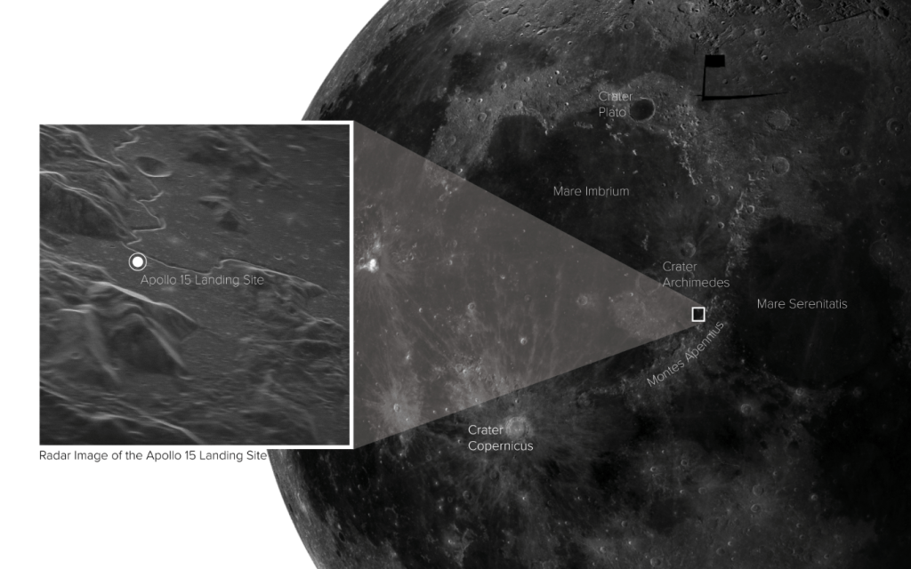 radar image of Apollo 15 lunar landing site