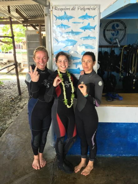 Celebrating my 300th dive with Yves, Livia and the sharks of Polynesia