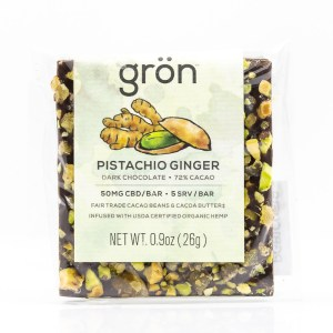 Grön CBD Pistachio Ginger Dark Chocolate Bar