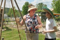 Philip was one of the builders of the tee-pees to support our taller peas.