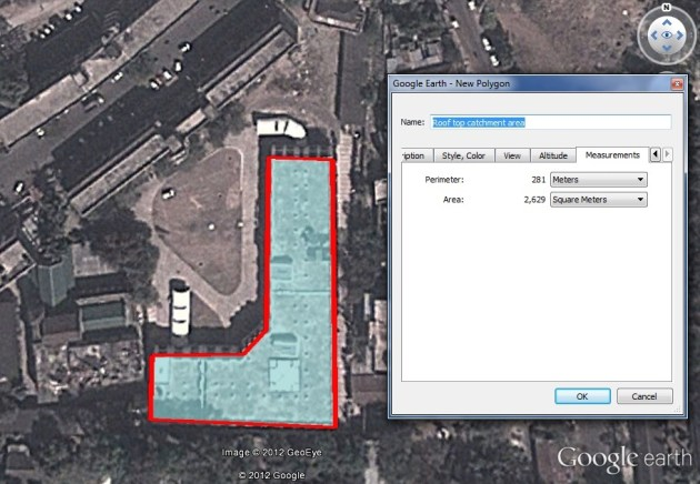 Roof top catchment area calcualtion using Google earth pro