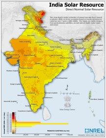 Solar resource map of India_NREL