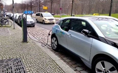 Electric Car at Charging Station in Berlin