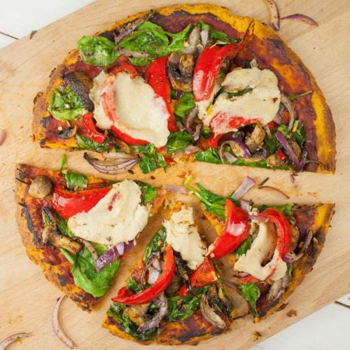 Pizza 100% légumes – pâte de patate douce