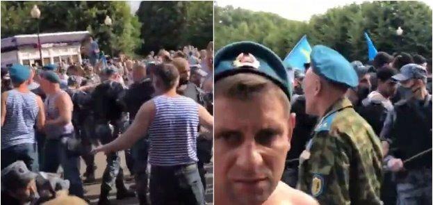 В Москве на день ВДВ десантники устроили массовую драку с Росгвардией. Видео