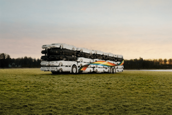 50 Cars Bus Sculpture
