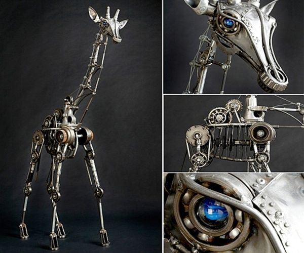 Andrew Chase's Kinetic animal sculptures