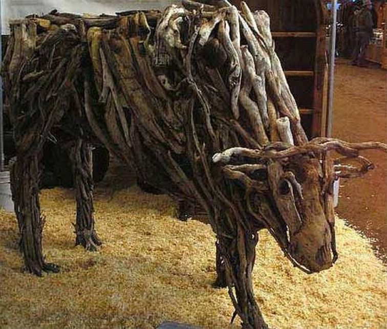 Animal sculptures made from rotten river wood