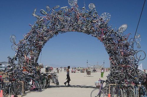 Bike arch made from a collection of broken bikes