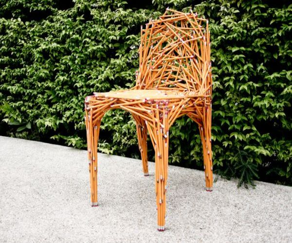 chair of pencils