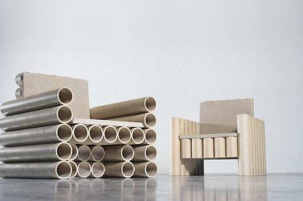 contemporary art design paper tube chair 595x396