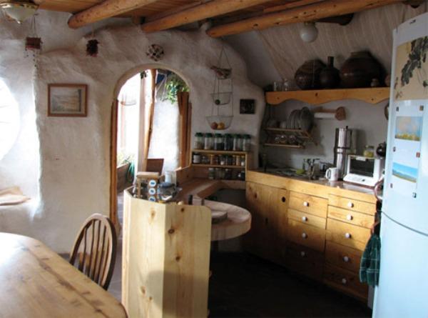 Earth bag home kitchen