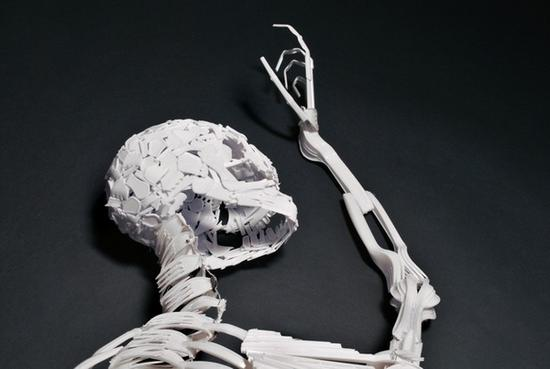 elliott mariess skeletal art recycled sculpture 3
