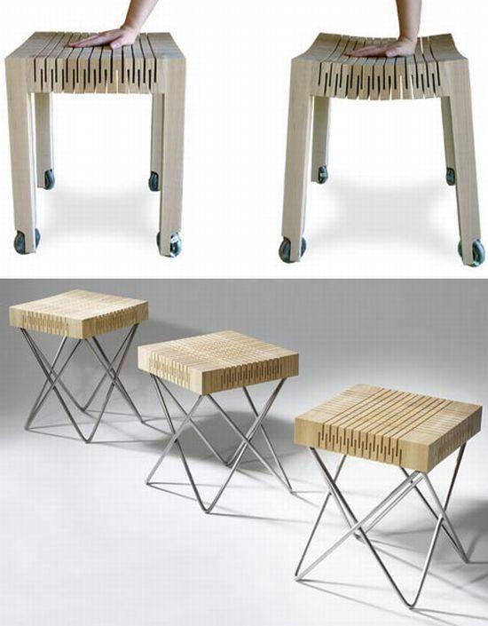 flexible wheeled wood stool 1