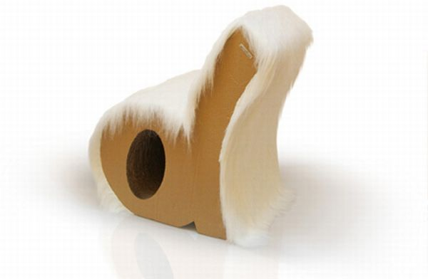 furry alphabet letter chair made from corrugated c